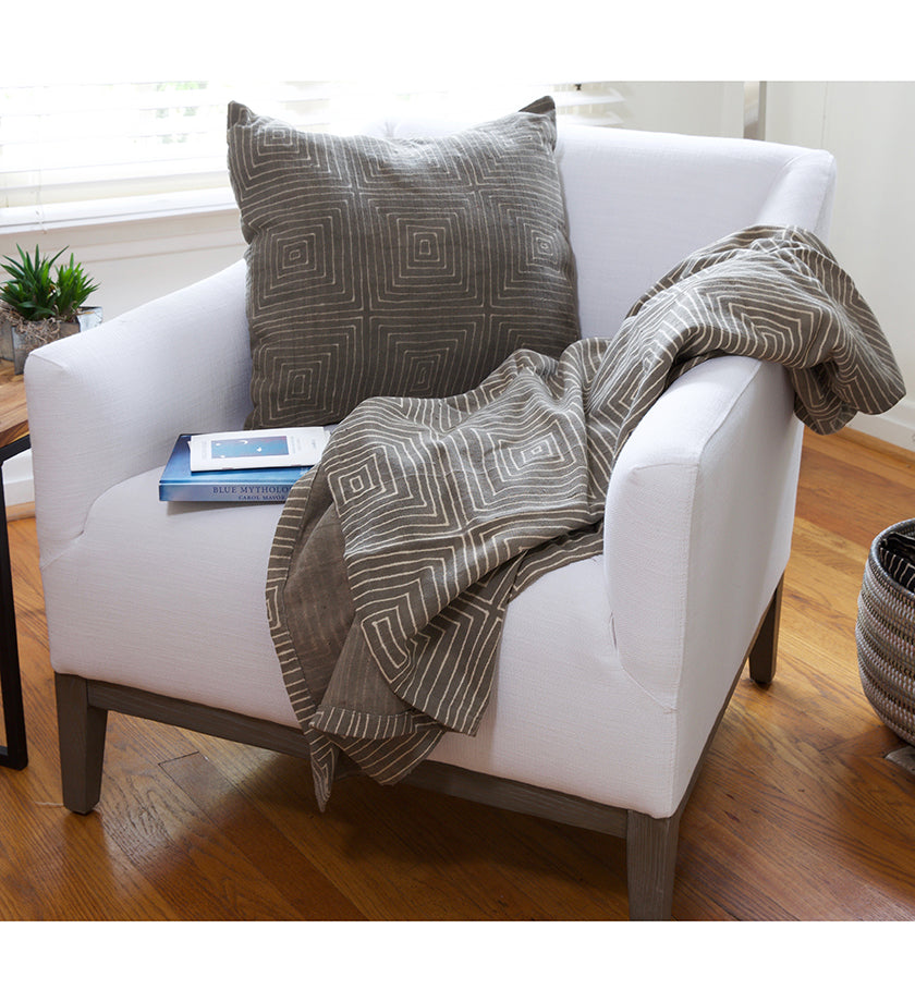 Gray Ségou Squares Organic Cotton Throw