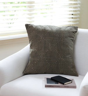 Gray Ségou Squares Mud Cloth Throw Pillow