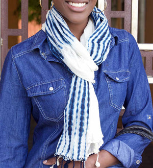 Indigo Striped Organic Cotton Scarf from Mali
