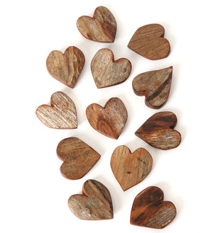 Dozen Rustic Sandalwood Keepsake Hearts