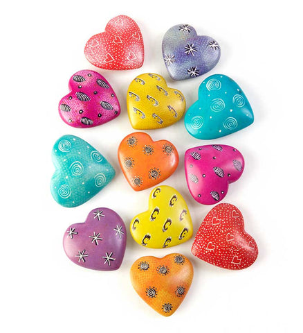 Assorted African Soapstone Hearts - Soapstone Handmade in Africa - Swahili Modern - 1