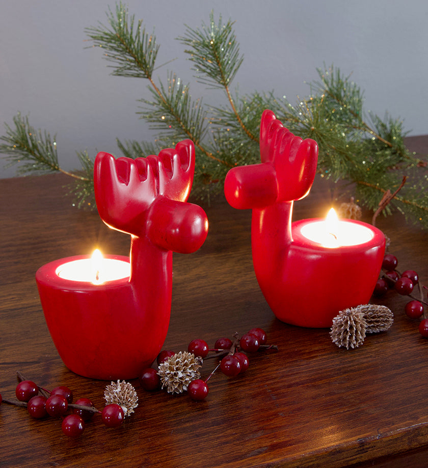 Set of Two Soapstone Reindeer Tea Lights