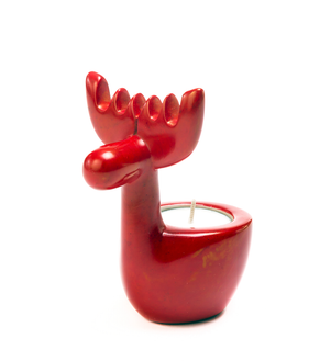 Soapstone Reindeer Tea Light - Art & Sculpture Handmade in Africa - Swahili Modern - 1