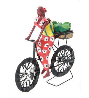 Biking Cabbages to Market Papier-Mâché Sculpture