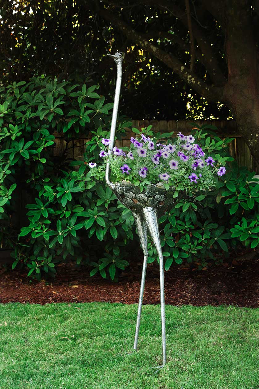 Recycled Metal Ostrich Plant Holders African Sculpture