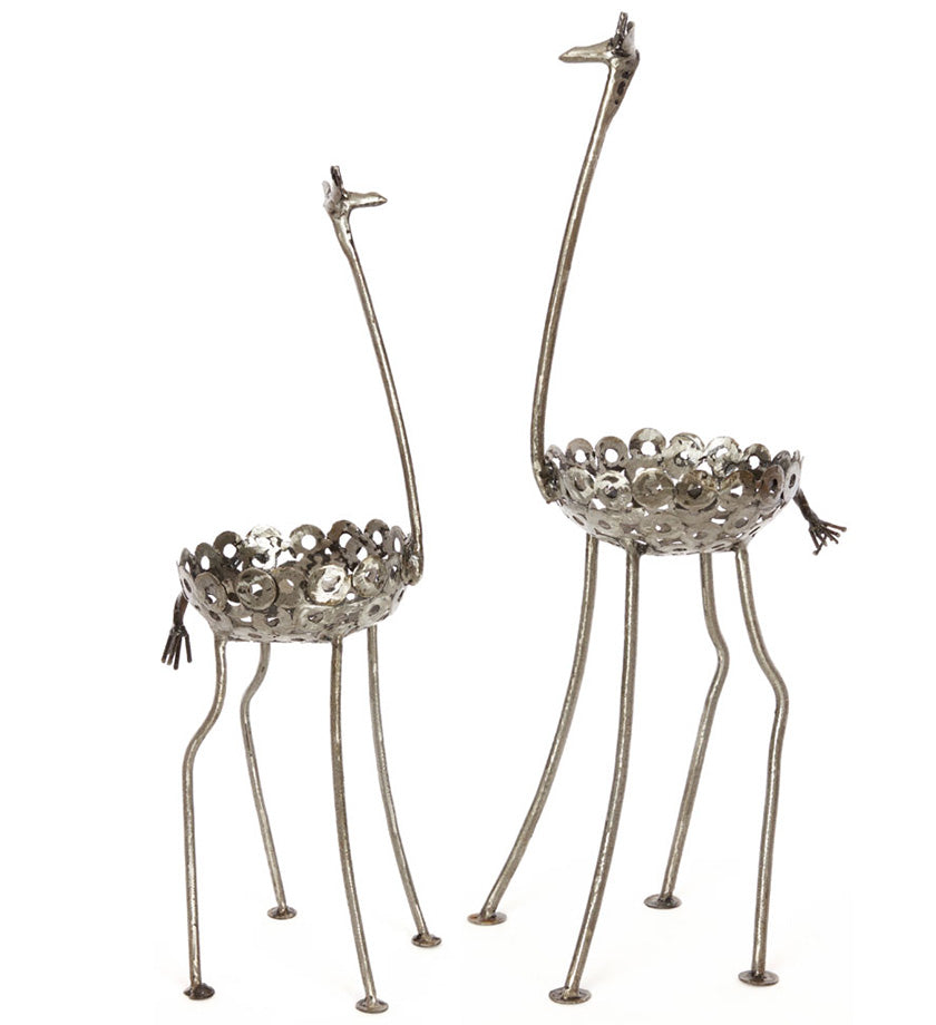 Small Recycled Metal Giraffe Plant Holders