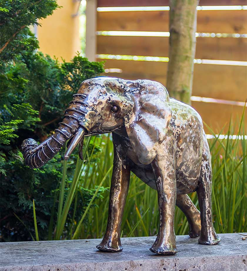 Baby Oil Drum Elephant Sculpture - Art & Sculpture Handmade in Africa - Swahili Modern - 4
