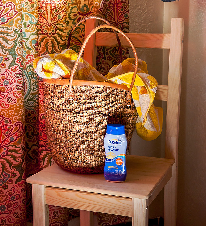Kenyan Banana Fiber Tote with Leather Trim