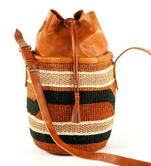 Earthtone Sisal Purse with Leather Cinch Top - Jewelry Handmade in Africa - Swahili Modern - 1