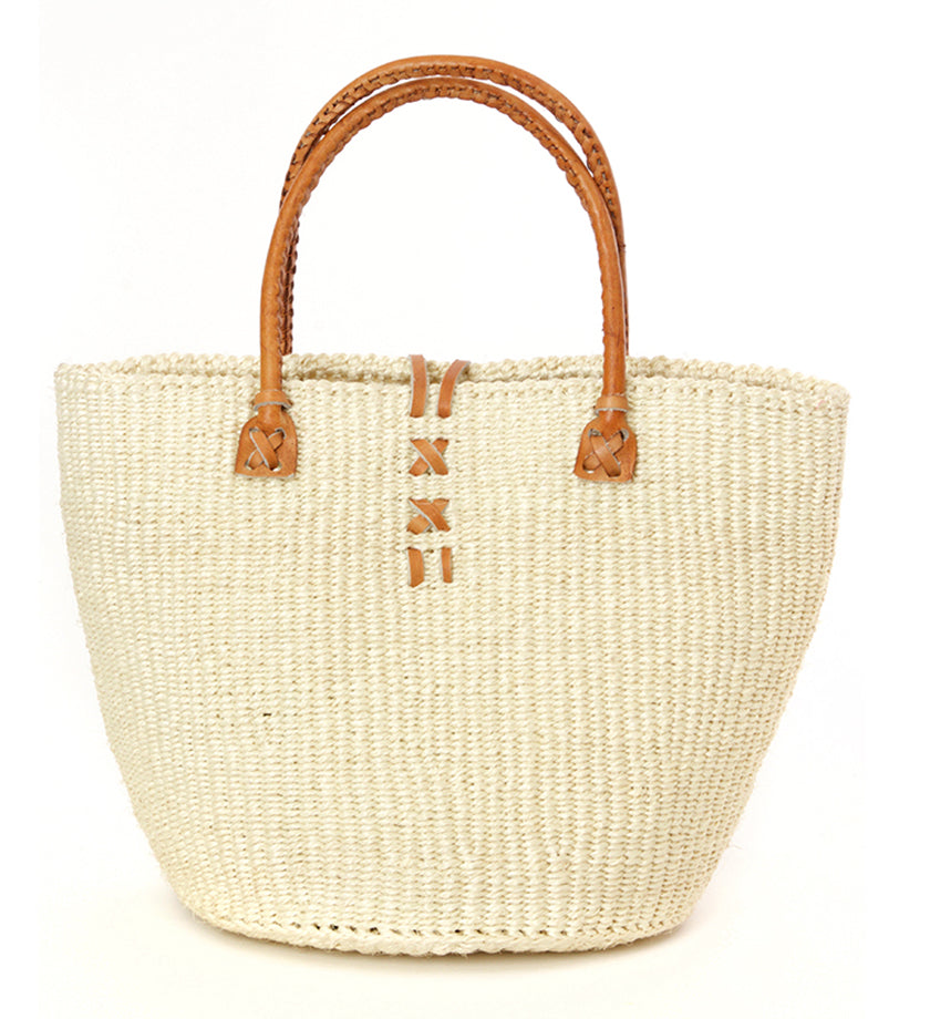 Classic Cream Kenyan Sisal and Leather Handbag