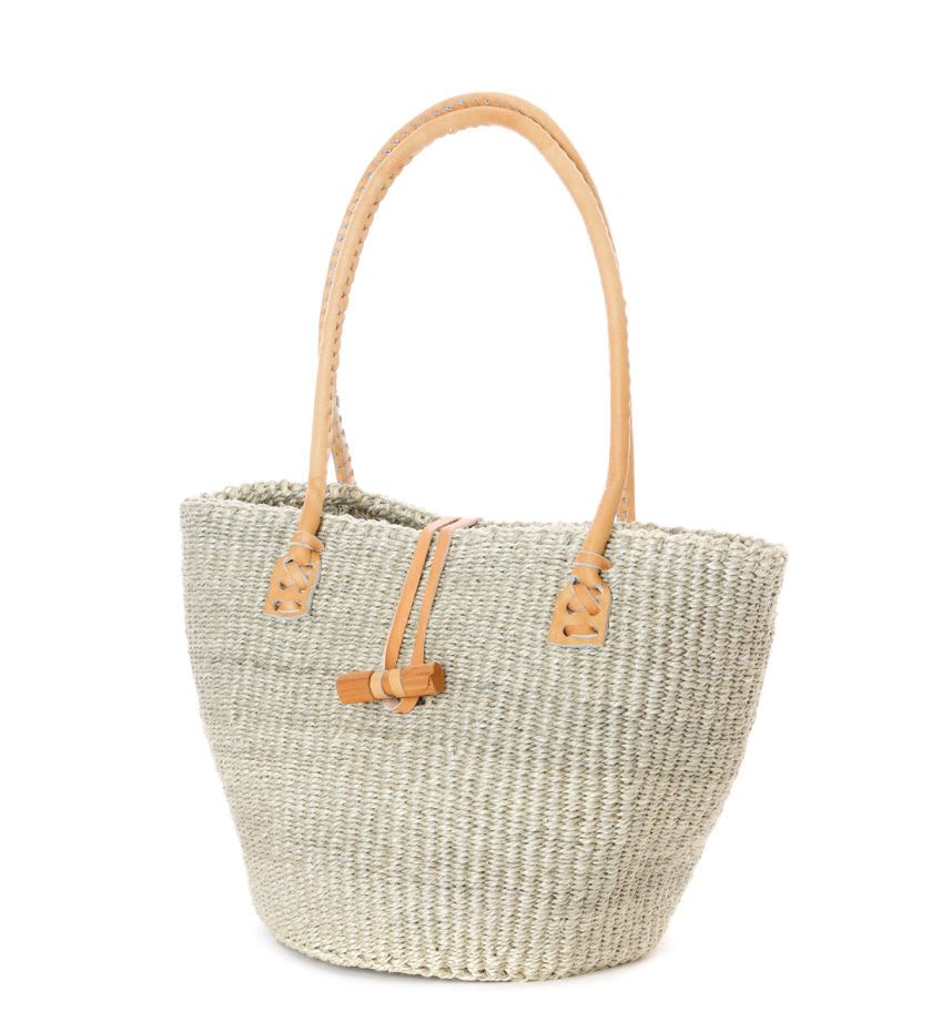 Classic Gray Sisal and Leather Handbag