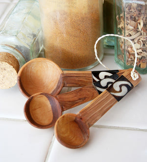 Set of Three Olive Wood Measuring Spoons with Bone Inlay