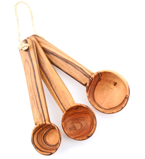 Set of Three Olive Wood Measuring Spoons