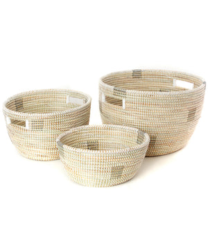 Trio of White with Silver Blocks African Baskets