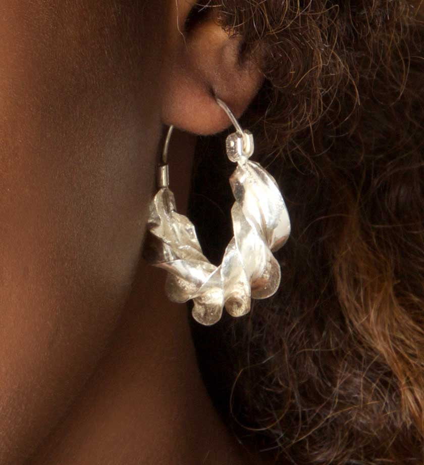 Sterling Silver Twirl Earrings from Mali - Jewelry Handmade in Africa - Swahili Modern - 3