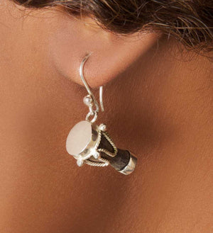 Jembe Sterling Silver Earrings from Mali - Jewelry Handmade in Africa - Swahili Modern - 1