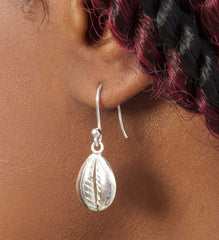 Sterling Silver Cowry Shell Earrings from Mali