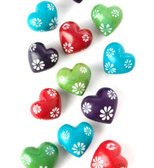 Hand-Carved Floral Soapstone Hearts from Africa
