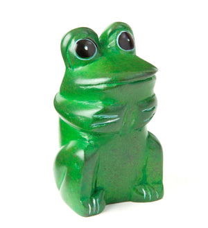 Set of Four Mini Soapstone Funny Frogs