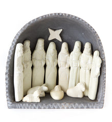 Gray & White Soapstone Nativity
