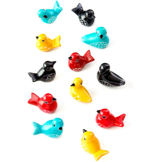Dozen Miniature Soapstone Birds in Assorted Colors