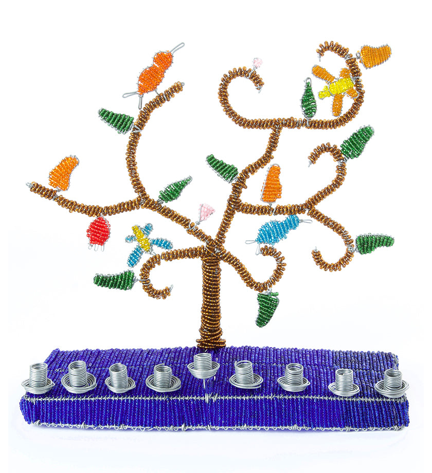 Deep Blue African Tree of Life Beaded Hanukkah Menorah