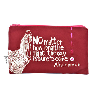 "Crimson ""The Day is Sure to Come"" African Proverb Pouch"
