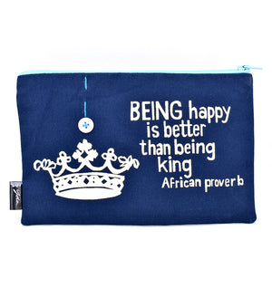 "Blue ""Better than Being King"" African Proverb Pouch"