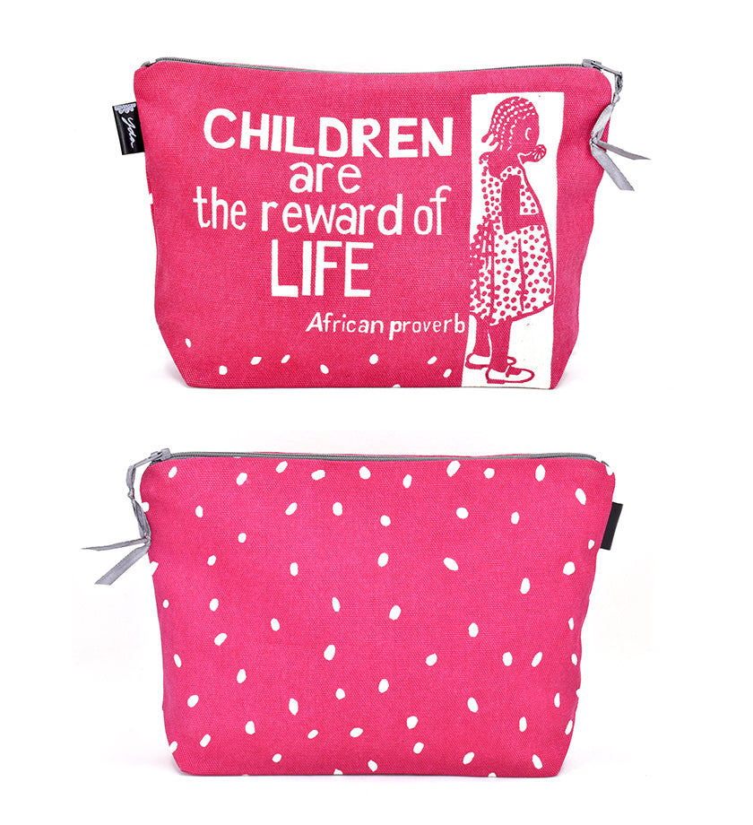 """Children are the Reward"" African Proverb Pouch in Yellow or Pink"