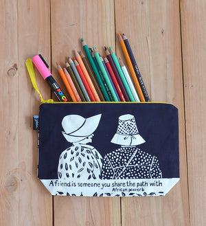 """A Friend is Someone"" African Proverb Pouch in Aqua or Navy"