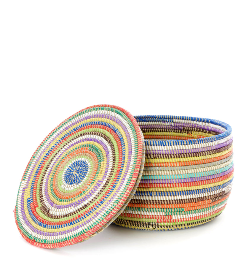 Rainbow Stripe Lidded Storage Basket