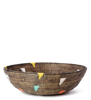 Black Grain Basket with Rainbow Triangles