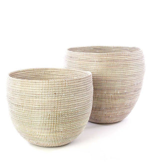 Set of Two White Deep Nesting Baskets - Basket Handmade in Africa - Swahili Modern - 1