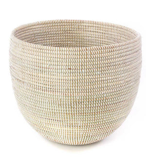 Set of Two White Deep Nesting Baskets - Basket Handmade in Africa - Swahili Modern - 2