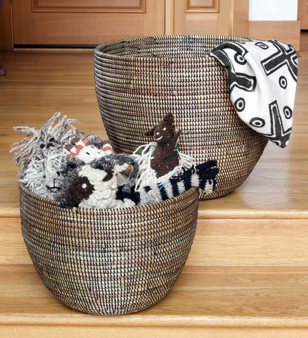Set of Two Black Deep Nesting Baskets - Basket Handmade in Africa - Swahili Modern - 4
