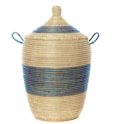 Set of Three Mixed Pattern Blue & White Hampers - Basket Handmade in Africa - Swahili Modern - 2