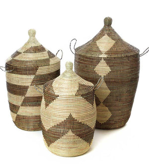 Set of Three Mixed Pattern Hampers - Black & Beige - Basket Handmade in Africa - Swahili Modern - 1