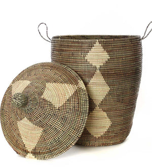 Set of Three Mixed Pattern Hampers - Black & Beige - Basket Handmade in Africa - Swahili Modern - 2