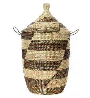 Set of Three Mixed Pattern Hampers - Black & Beige - Basket Handmade in Africa - Swahili Modern - 3