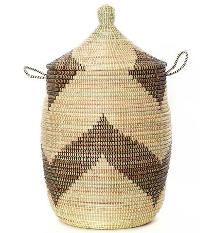 Set of Three Mixed Pattern Hampers - Black & Beige - Basket Handmade in Africa - Swahili Modern - 4