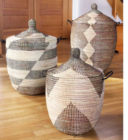 Set of Three Mixed Pattern Hampers - Black & Beige - Basket Handmade in Africa - Swahili Modern - 5