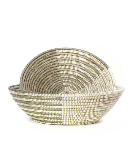 Silver & White Delta Tabletop Baskets