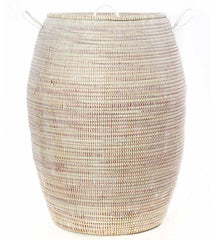 Senegalese Tall White Bongo Basket with Lid