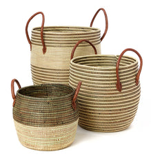 Set/3 Mixed Pattern Wolof Baskets with Leather Handles