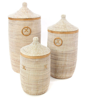 Set/3 White Laundry Baskets with Natural Leather Accents