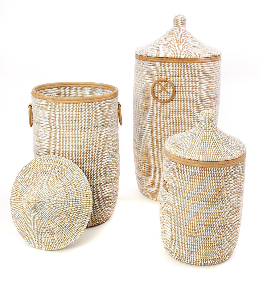 Set/3 White Laundry Baskets with Natural Leather Accents  sc 1 st  Swahili Modern & Handmade Senegal Baskets From Africa | Fair Trade Baskets - Swahili ...