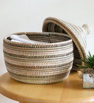Silver, Black & White Striped Warming Basket