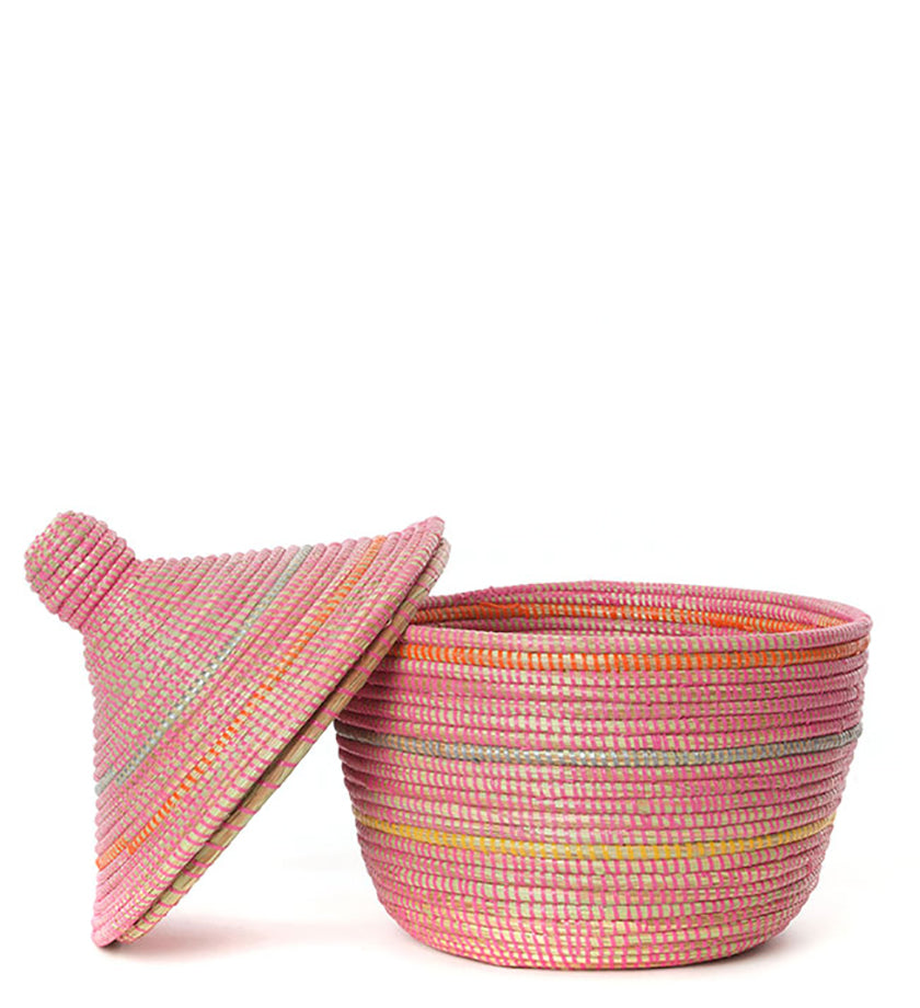 Bright Toned Pink Striped Warming Basket