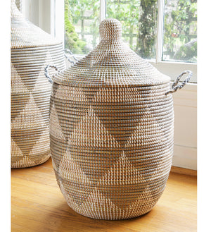Medium Silver and White Triangle Lidded Basket