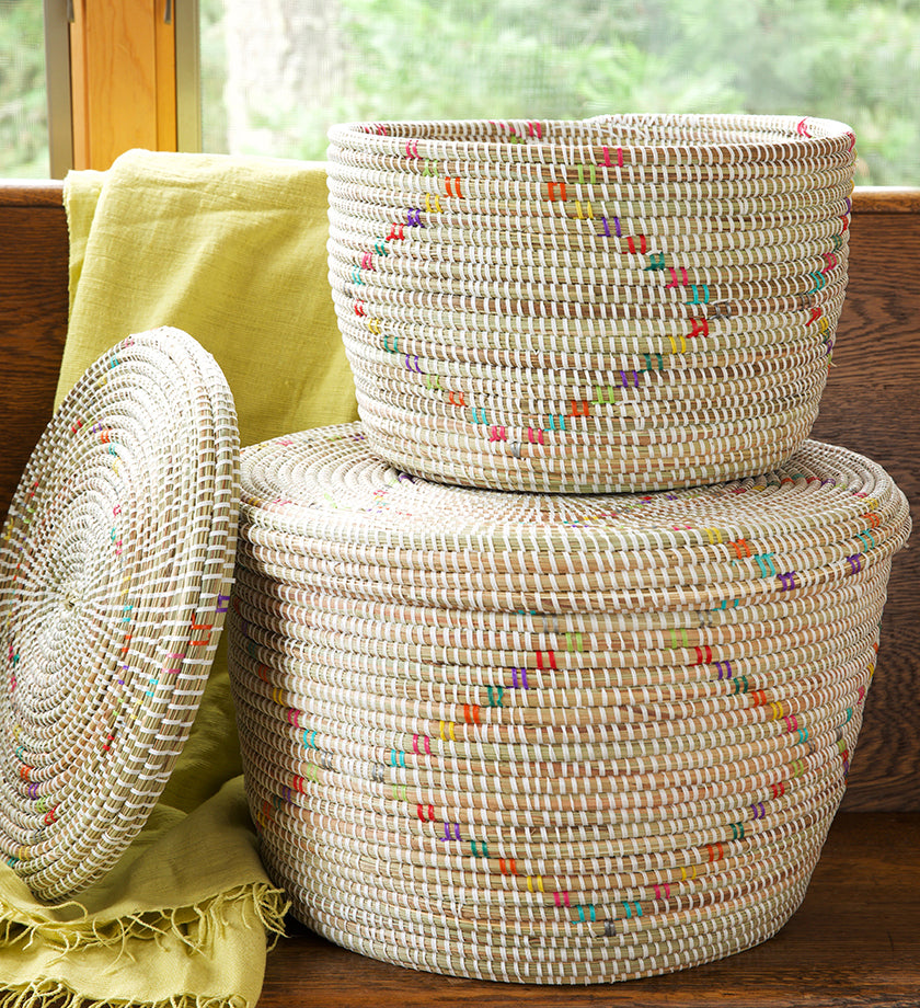 Set/2 White Beachcomber Baskets with Rainbow Prisms